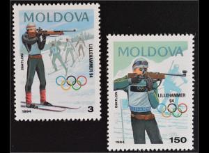 Moldawien 1994 Michel Nr. 96-97 Winterspiele Lillehammer Biathlon
