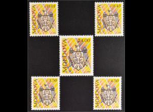 Moldawien Moldova 1994 Michel Nr. 101-05 Freimarken Staatswappen