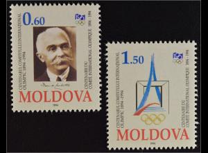 Moldawien Moldova 1994 Michel Nr. 126-27 100 Jahre Int. Olympisches Komitee
