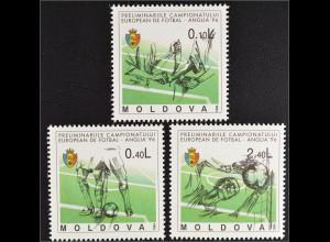 Moldawien Moldova 1994 Michel Nr. 133-35 Fußball Europameisterschaft 1996