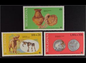 Moldawien Moldova 1995 MiNr. 161-63 Exponate des Nationalmuseums Dinotherium