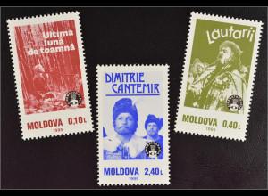 Moldawien Moldova 1995 Michel Nr. 187-89 100 Jahre Kino Filmszenen