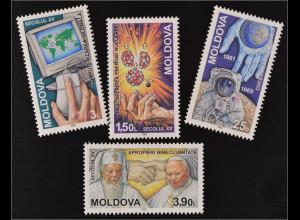 Moldawien Moldova 2000 Michel Nr. 357-60 Ereignisse Mondlandung Kernenergie
