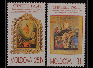 Moldawien Moldova 2000 Michel Nr. 361-62 Ostern Gemälde aus Nationalgalerie