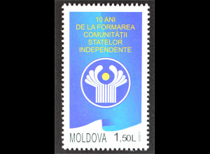 Moldawien 2001 Michel Nr. 420 10 Jahre Gemeinschaft Unabhängigkeit