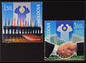 Moldawien Moldova 2002 Michel Nr. 449-50 GUS Gipfelkonferenz