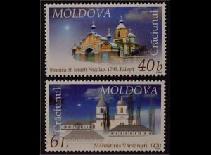 Moldawien Moldova 2005 Michel Nr. 533-34 Weihnachten Kirchen und Klöster