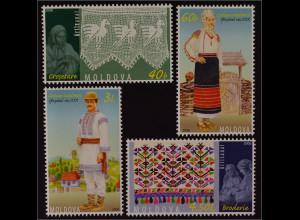Moldawien 2006 MiNr. 544-47 Kunsthandwerk Spitze Stickerei Trachten