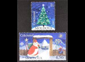 Moldawien Moldova 2007 MiNr. 602-03 Weihnachten Weihnachtsbaum Weihnachtsmann