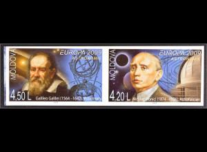 Moldawien Moldova 2009 Michel Nr. 650-51 B Europa Astronomie Galileo Galilei
