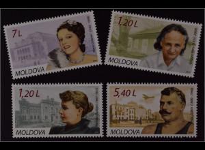 Moldawien Moldova 2010 Michel Nr. 684-87 Persönlichkeiten Natalia Dadiani Zaikin