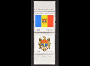 Moldawien Moldova 2010 MiNr. 717-18 Ss senkr. Sicherheitszähnung Staatssymbole