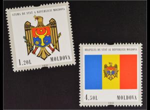 Moldawien Moldova 2010 MiNr. 717-18 Sw waag. Sicherheitszähnung Staatssymbole