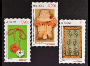 Moldawien Moldova 2011 MiNr. 738-40 Volkskunst Teppich Strohbild Schnürband