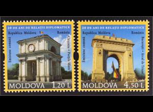 Moldawien Moldova 2011 MiNr. 769-70 20 J. diplomatische Beziehung mit Rumänien