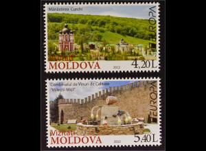 Moldawien Moldova 2012 MiNr. 793-94 Europa Besuche Kloster Curchi Weingut