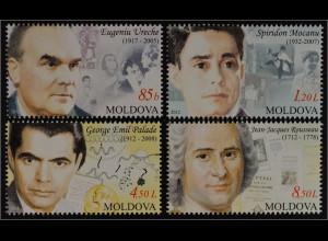Moldawien Moldova 2012 MiNr. 809-12 Persönlichkeiten Jean-Jacques Rousseau