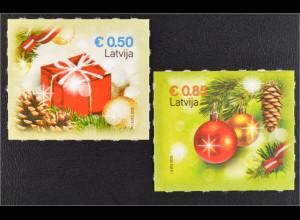 Lettland Latvia 2015 Michel Nr. 969-70 Weihnachten Christbaumkugeln Geschenk