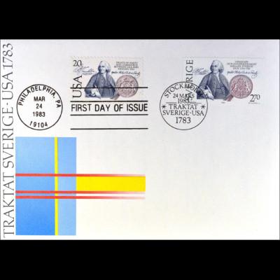 USA 1615 Schweden 1232 Handelsvertr. Brief Gemeinschatsausgabe Joint Issue 1983