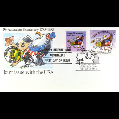 USA 1963 Australien 1079 Kombi Brief Parallelausgabe Joint Issue 1988
