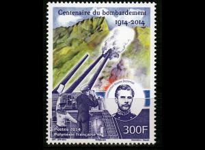 Polynesien französisch 2014, Michel Nr. 1272, 100. Jahres. Bombadierung Papeetes