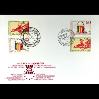 Liechtenstein 945-46 Costa Rica 1347-48 Brief Parallelausgabe Joint Issue 1988