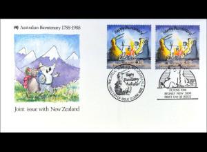 Australien 1118 Neuseeland 1032 Kolonisation Brief Parallelausgabe Joint I. 1988