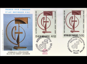 Frankreich 2687 Dänemark 928 Kulturjahr Brief Parallelausgabe Joint Issue 1988