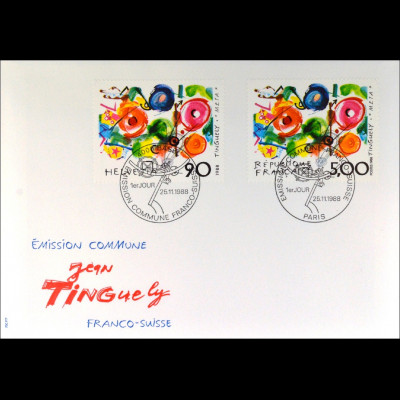 Frankreich 2693 Schweiz 1380 Kunst Brief Gemeinschatsausgabe Joint Issue 1988