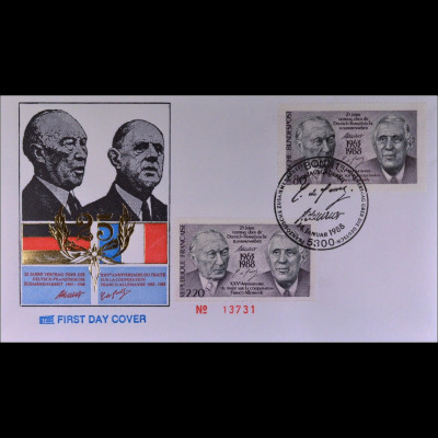 Frankreich 2636 Bund 1351 Combi FDC Brief Gemeinschatsausgabe Joint Issue 1988