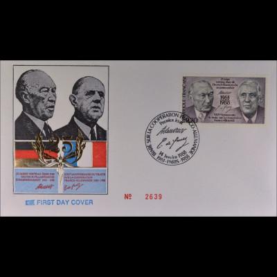 Frankreich 2636 FDC Gemeinschatsausgabe Joint Issue 1988 Adenauer de Gaulle