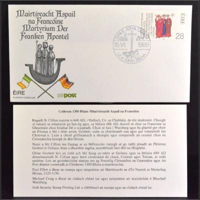 Irland 683 FDC Gemeinschatsausgabe Joint Issue 1989 Franken Apostel Brief