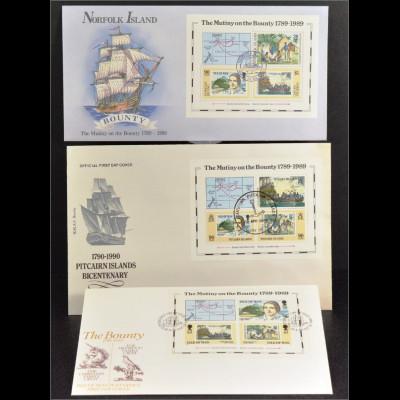 Insel Man Pitcairn Norfolk 3 Block FDC Gemeinschatsausgabe Joint Issue 1989