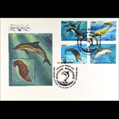 Sowjetunion 6130-33 FDC Meeressäugetiere Gemeinschatsausgabe Joint Issue 1990