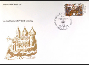 Polen 3318 FDC Schlacht bei Liegnitz Gemeinschatsausgabe Joint Issue 1991