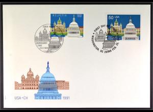 Schweiz 1442 USA 2120 Eidgenossenschaft Gemeinschatsausgabe Joint Issue 1991