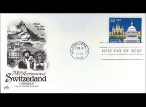 USA 2120 FDC Eidgenossenschaft Gemeinschatsausgabe Joint Issue 1991 Switzerland