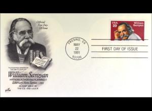 USA 2136 FDC William Saroyan Gemeinschatsausgabe Joint Issue 1991