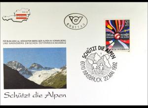 Österreich 2065 FDC Schützt die Alpen Gemeinschatsausgabe Joint Issue 1992