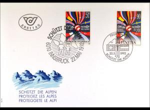Österreich Schweiz Kombi FDC Schützt Alpen Gemeinschatsausgabe Joint Issue 1992