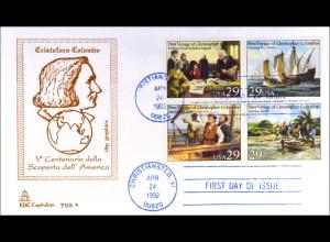USA MiNr. 2214-17 FDC Entdeckung Amerika Gemeinschatsausgabe Joint Issue 1992