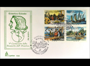 Italien 2208-11 FDC Entdeckung Amerika Gemeinschatsausgabe Joint Issue 1992