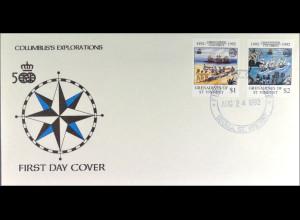 St. Vincent Grenadinen 930-31 FDC Columbus Gemeinschatsausgabe Joint Issue 1992