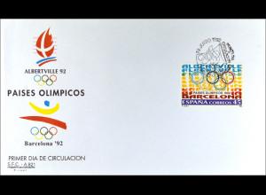 Spanien MiNr. 3073 FDC Olympische Spiele Gemeinschatsausgabe Joint Issue 1992