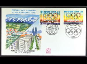 Spanien Frankreich Kombi FDC Oly. Spiele Gemeinschatsausgabe Joint Issue 1992