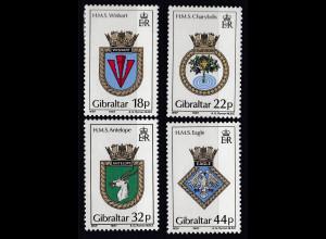 Gibraltar 1987 Michel Nr. 521-24 Schiffswappen VI HMS Eagle HMS Wishart