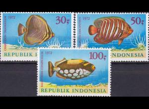 Indonesien 1972, Michel Nr.722-24, Meeresfische (II), Triangel-Falterfisch ...