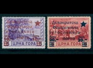 Jugoslawien Ausgaben der Volksrepublik Montenegro Porto Nr. 1-2 ** mit Prüfz.