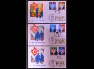 Deutschland Michel Nr. 1711 und UNO drei Kombi FDC Jahr der Familie 1994