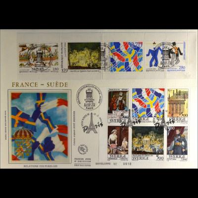 Frankreich 3012-17 + Schweden Kombi FDC Kulturelle Beziehungen Joint Issue 1994